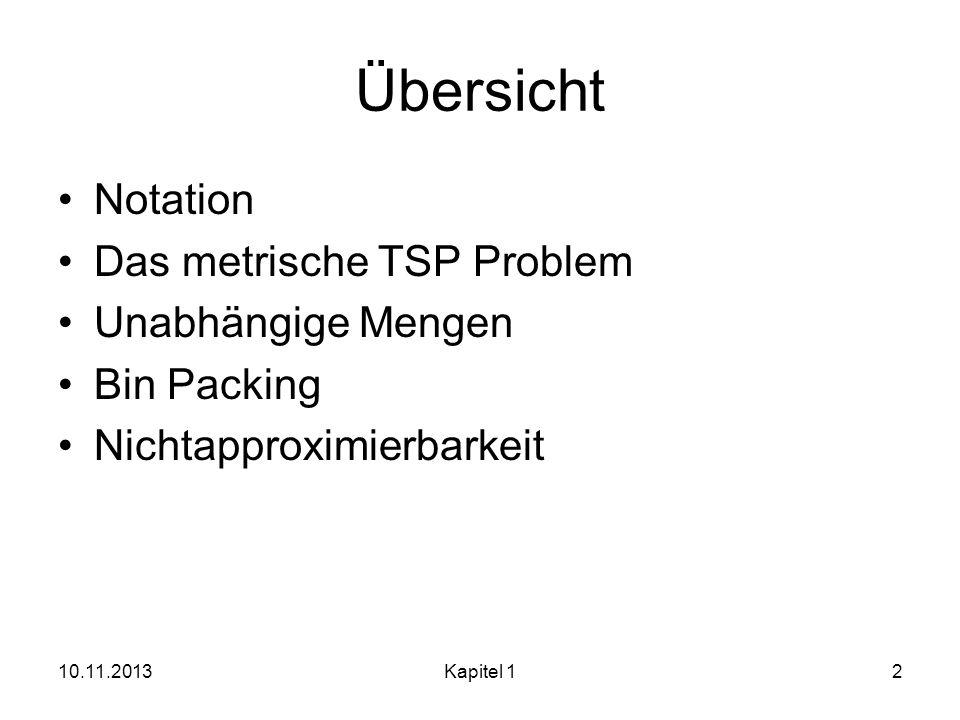 Übersicht Notation Das metrische TSP Problem Unabhängige Mengen Bin Packing Nichtapproximierbarkeit 10.11.2013Kapitel 12