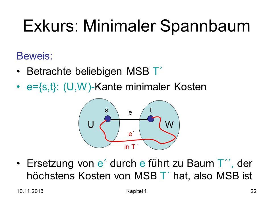 10.11.2013Kapitel 122 Exkurs: Minimaler Spannbaum Beweis: Betrachte beliebigen MSB T´ e={s,t}: (U,W)-Kante minimaler Kosten Ersetzung von e´ durch e f