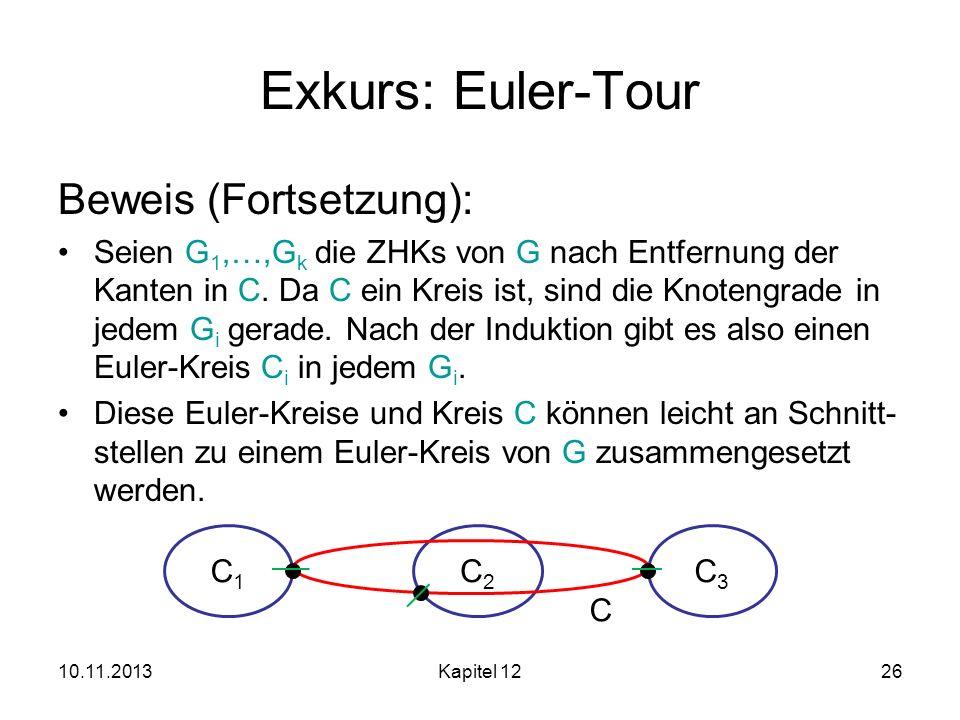 10.11.2013Kapitel 1226 Exkurs: Euler-Tour Beweis (Fortsetzung): Seien G 1,…,G k die ZHKs von G nach Entfernung der Kanten in C. Da C ein Kreis ist, si