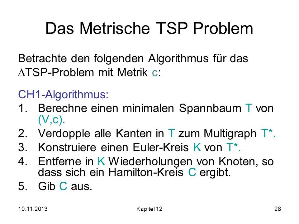 10.11.2013Kapitel 1228 Das Metrische TSP Problem Betrachte den folgenden Algorithmus für das TSP-Problem mit Metrik c: CH1-Algorithmus: 1.Berechne ein