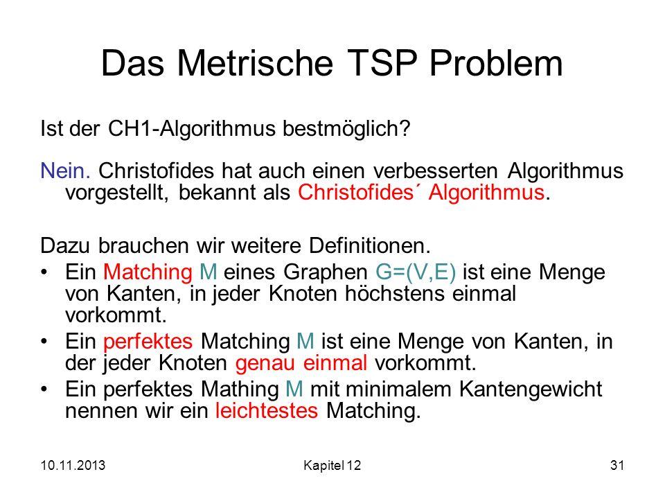 10.11.2013Kapitel 1231 Das Metrische TSP Problem Ist der CH1-Algorithmus bestmöglich? Nein. Christofides hat auch einen verbesserten Algorithmus vorge