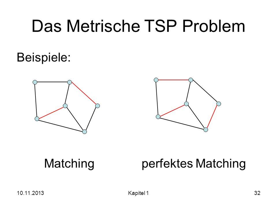 Das Metrische TSP Problem Beispiele: Matching perfektes Matching 10.11.2013Kapitel 132