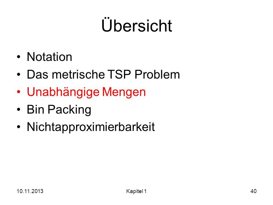 Übersicht Notation Das metrische TSP Problem Unabhängige Mengen Bin Packing Nichtapproximierbarkeit 10.11.2013Kapitel 140