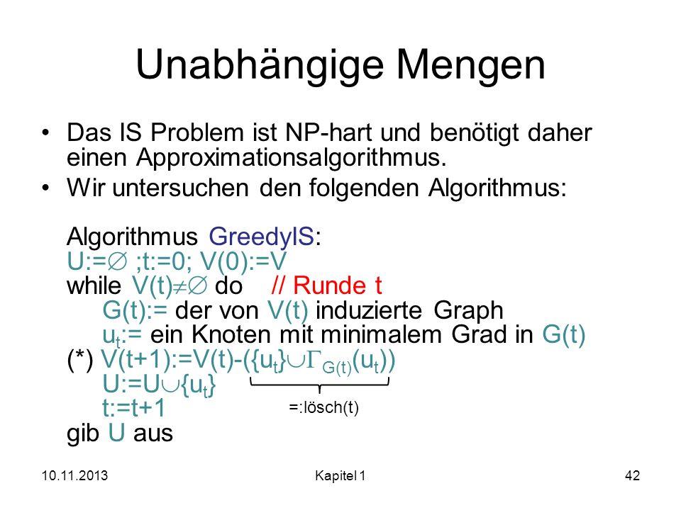 Unabhängige Mengen Das IS Problem ist NP-hart und benötigt daher einen Approximationsalgorithmus. Wir untersuchen den folgenden Algorithmus: Algorithm