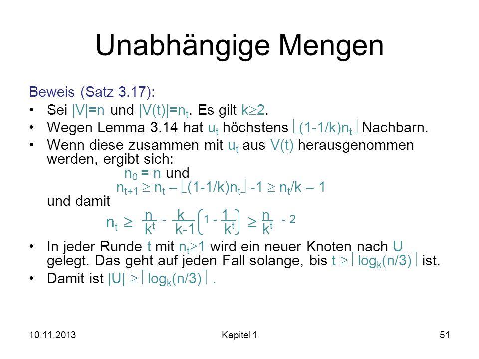 Unabhängige Mengen Beweis (Satz 3.17): Sei |V|=n und |V(t)|=n t. Es gilt k 2. Wegen Lemma 3.14 hat u t höchstens (1-1/k)n t Nachbarn. Wenn diese zusam