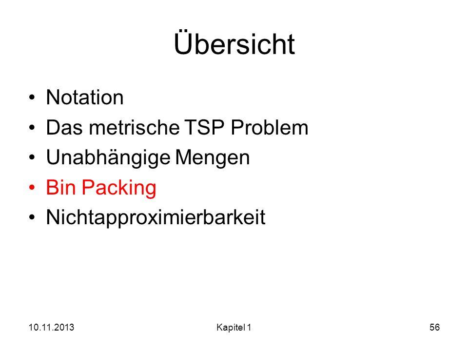 Übersicht Notation Das metrische TSP Problem Unabhängige Mengen Bin Packing Nichtapproximierbarkeit 10.11.2013Kapitel 156