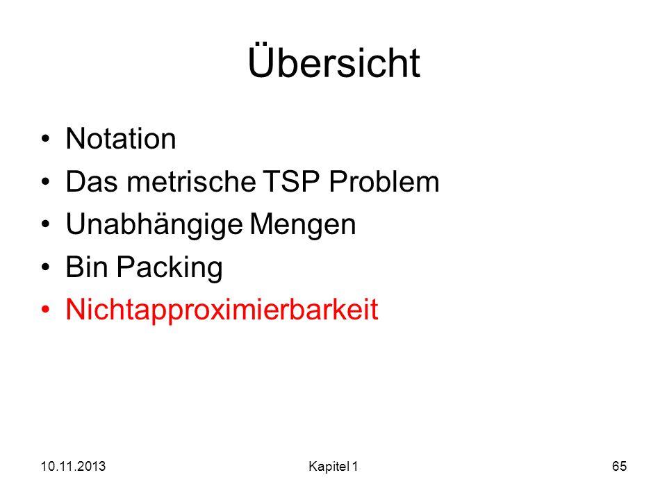 Übersicht Notation Das metrische TSP Problem Unabhängige Mengen Bin Packing Nichtapproximierbarkeit 10.11.2013Kapitel 165