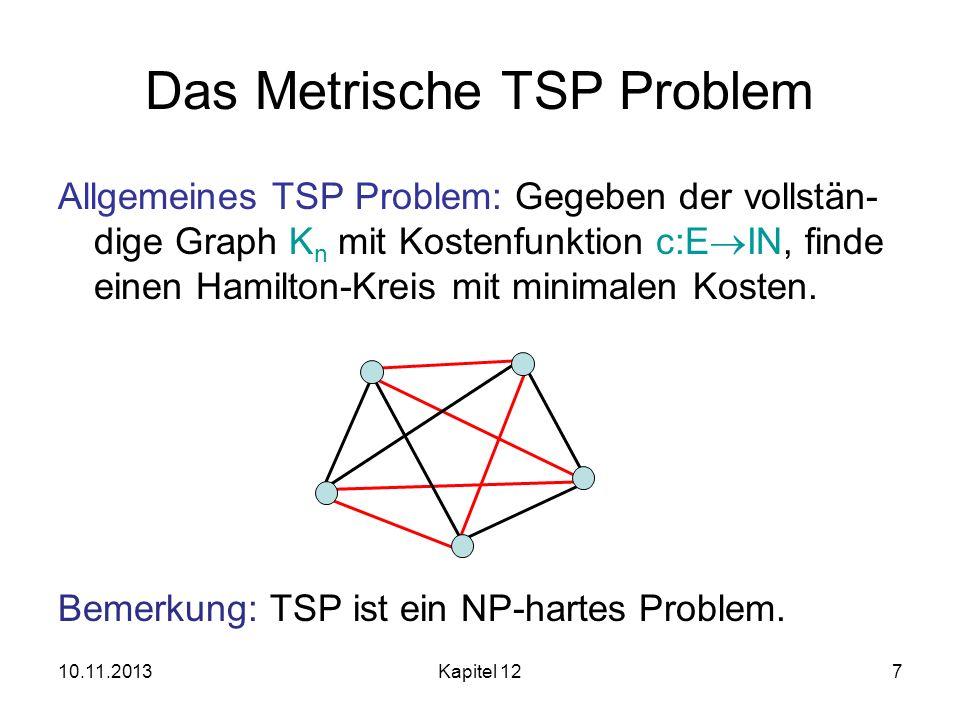 10.11.2013Kapitel 127 Das Metrische TSP Problem Allgemeines TSP Problem: Gegeben der vollstän- dige Graph K n mit Kostenfunktion c:E IN, finde einen H
