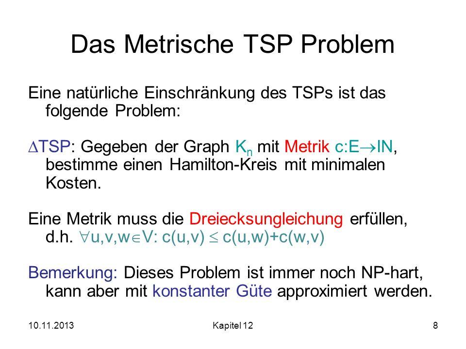 10.11.2013Kapitel 128 Das Metrische TSP Problem Eine natürliche Einschränkung des TSPs ist das folgende Problem: TSP: Gegeben der Graph K n mit Metrik