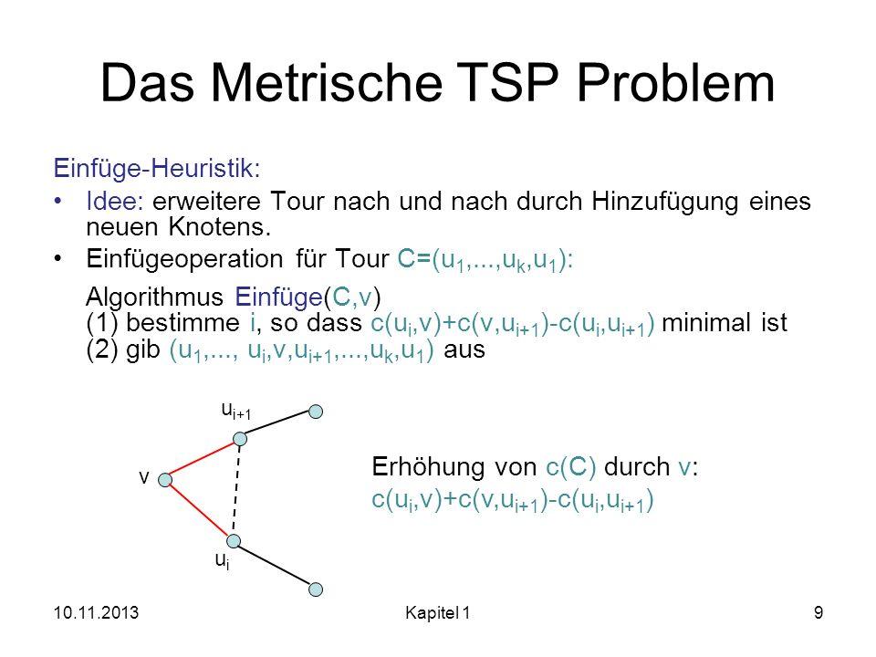 Das Metrische TSP Problem Einfüge-Heuristik: Idee: erweitere Tour nach und nach durch Hinzufügung eines neuen Knotens. Einfügeoperation für Tour C=(u