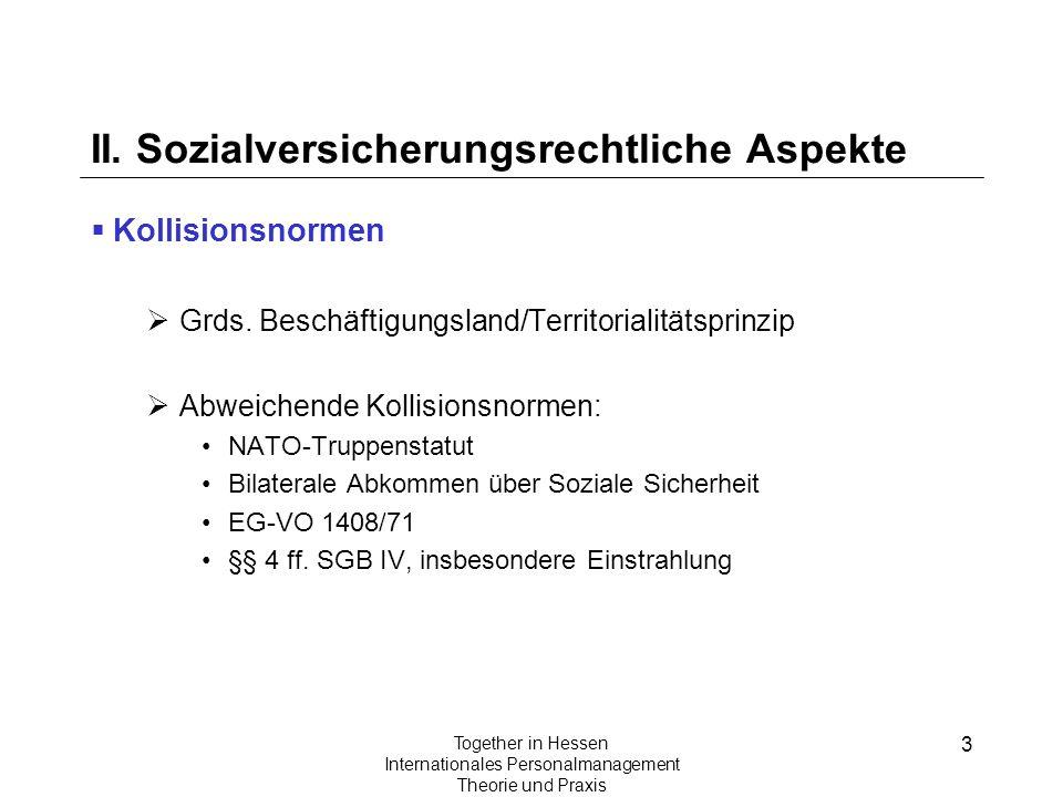 3 Together in Hessen Internationales Personalmanagement Theorie und Praxis II. Sozialversicherungsrechtliche Aspekte Kollisionsnormen Grds. Beschäftig