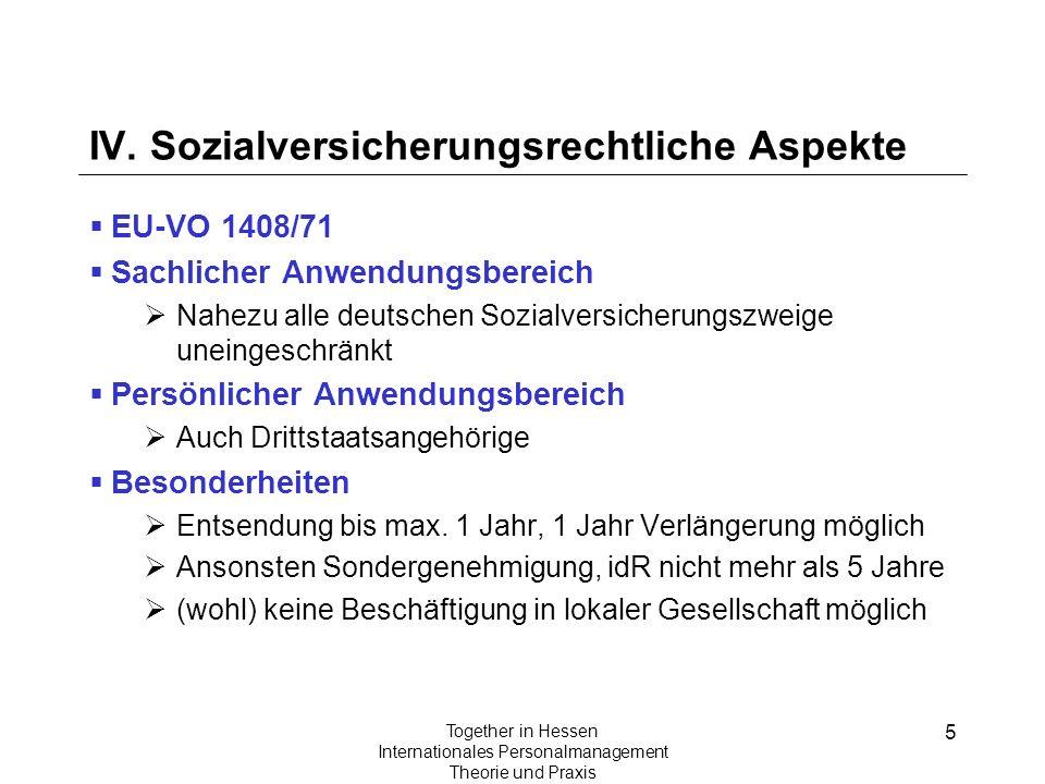 5 Together in Hessen Internationales Personalmanagement Theorie und Praxis IV. Sozialversicherungsrechtliche Aspekte EU-VO 1408/71 Sachlicher Anwendun