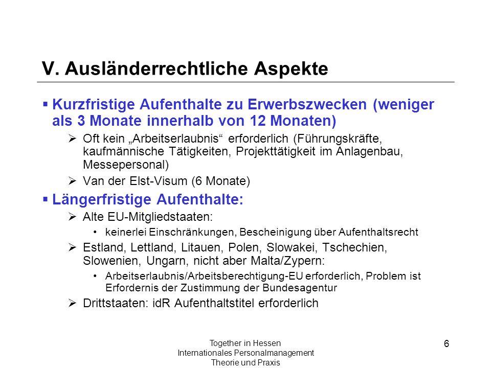 6 Together in Hessen Internationales Personalmanagement Theorie und Praxis V. Ausländerrechtliche Aspekte Kurzfristige Aufenthalte zu Erwerbszwecken (