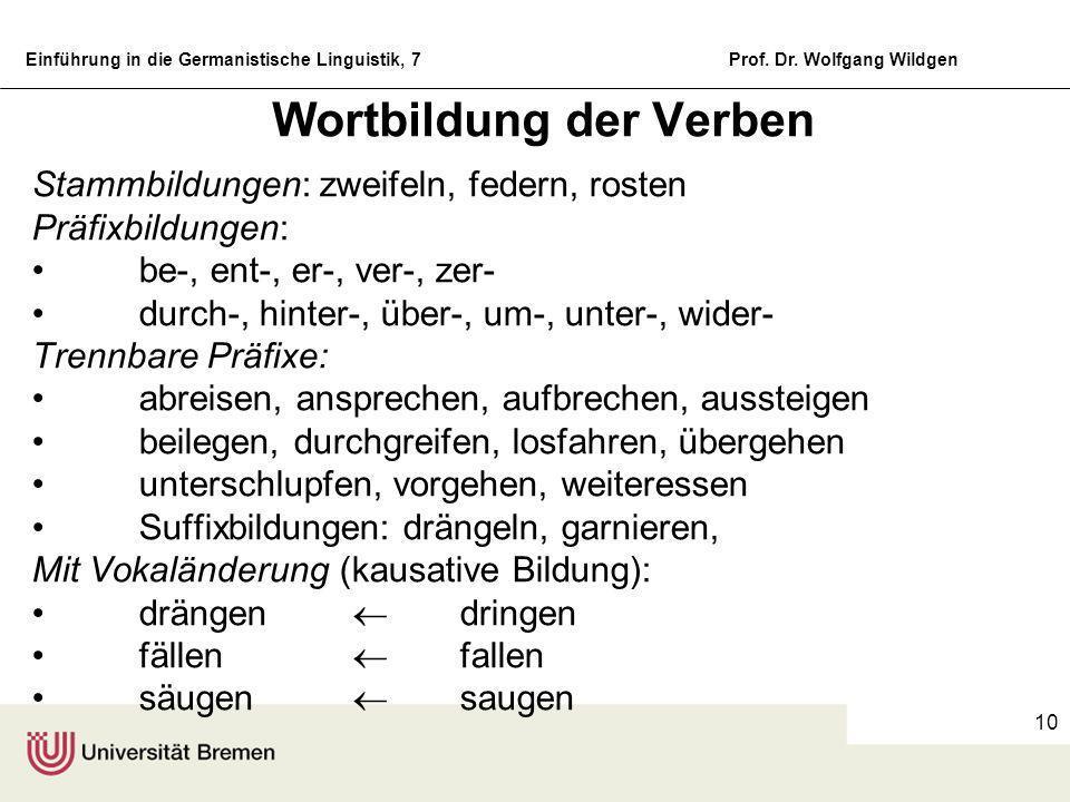 Einführung in die Germanistische Linguistik, 7Prof. Dr. Wolfgang Wildgen 9 Fugenzeichen und Reihenbildungen Fugenzeichen sind Morpheme ohne spezifisch