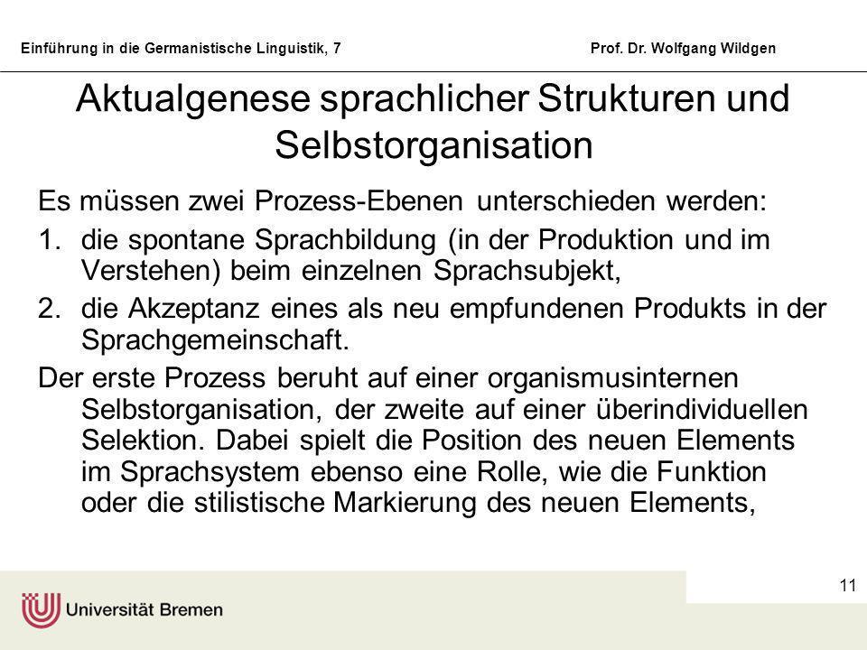 Einführung in die Germanistische Linguistik, 7Prof. Dr. Wolfgang Wildgen 10 Wortbildung der Verben Stammbildungen: zweifeln, federn, rosten Präfixbild