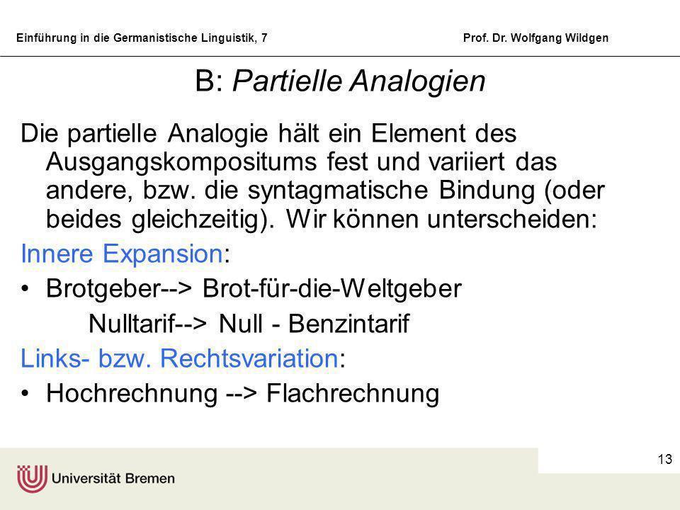 Einführung in die Germanistische Linguistik, 7Prof. Dr. Wolfgang Wildgen 12 Die Aktualgenese nominaler Komposita A: Identitätsanalogien Auto-Bahn (= A