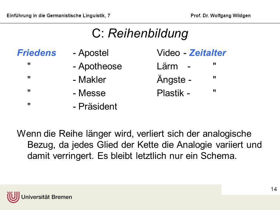 Einführung in die Germanistische Linguistik, 7Prof. Dr. Wolfgang Wildgen 13 B: Partielle Analogien Die partielle Analogie hält ein Element des Ausgang