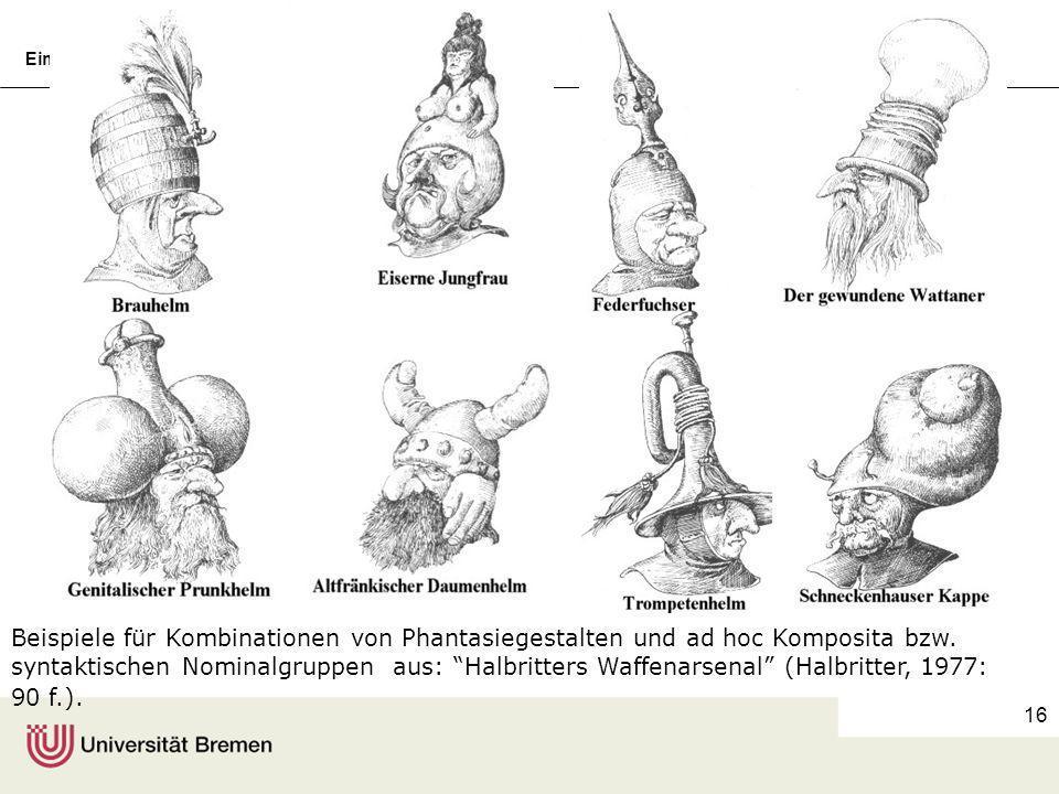 Einführung in die Germanistische Linguistik, 7Prof. Dr. Wolfgang Wildgen 15 Integration von Bild und Kompositum Heizsattel Schwammtasse