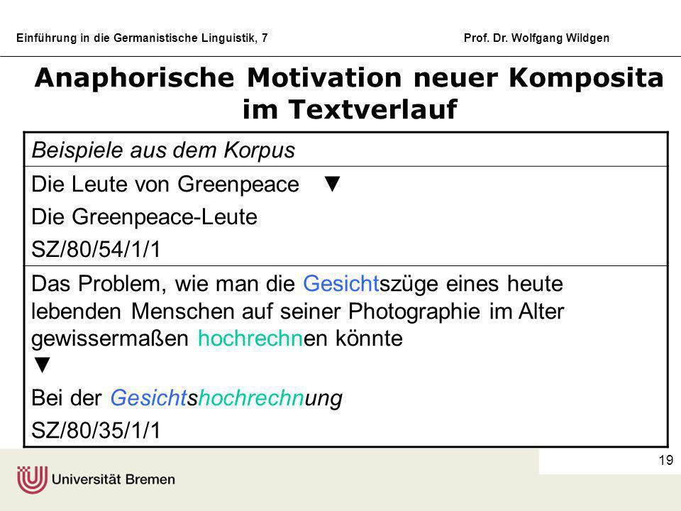 Einführung in die Germanistische Linguistik, 7Prof. Dr. Wolfgang Wildgen 18 Der Prozess der anaphorischen Komposition Beispiele aus dem Korpus Geldtra