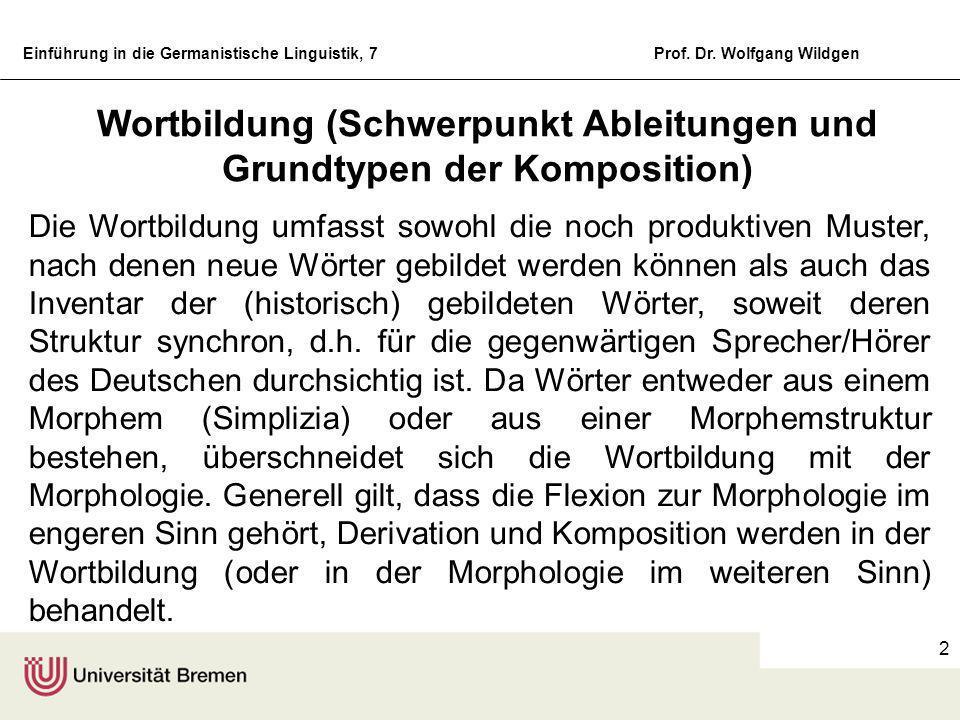 Einführung in die Germanistische Linguistik, 7 Universität Bremen Fachbereich 10 Einführung in die Germanistische Linguistik 7. Sitzung Morphologie un