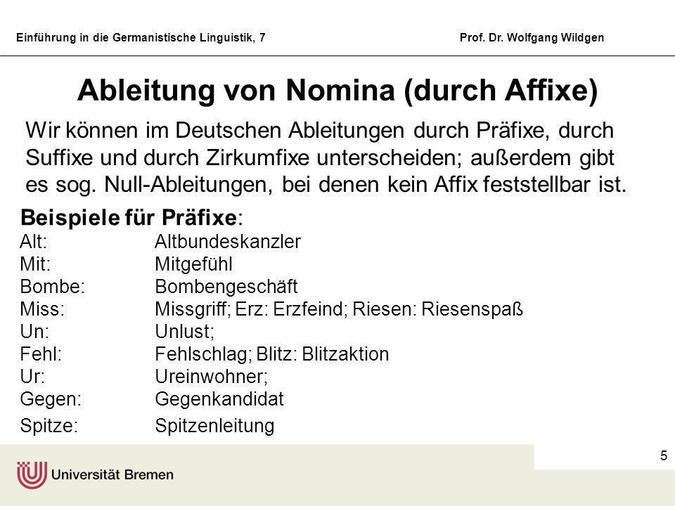 Einführung in die Germanistische Linguistik, 7Prof. Dr. Wolfgang Wildgen 4 Generelle Bildungsarten Kurzwörter: Foto (Fotografie), Rad (Fahrrad), Ferna