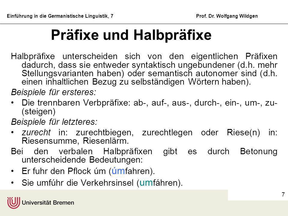 Einführung in die Germanistische Linguistik, 7Prof. Dr. Wolfgang Wildgen 6 Beispiele für Suffixe mask.: -er:Schreiber, Hopser, Regler, Schweizer -ling