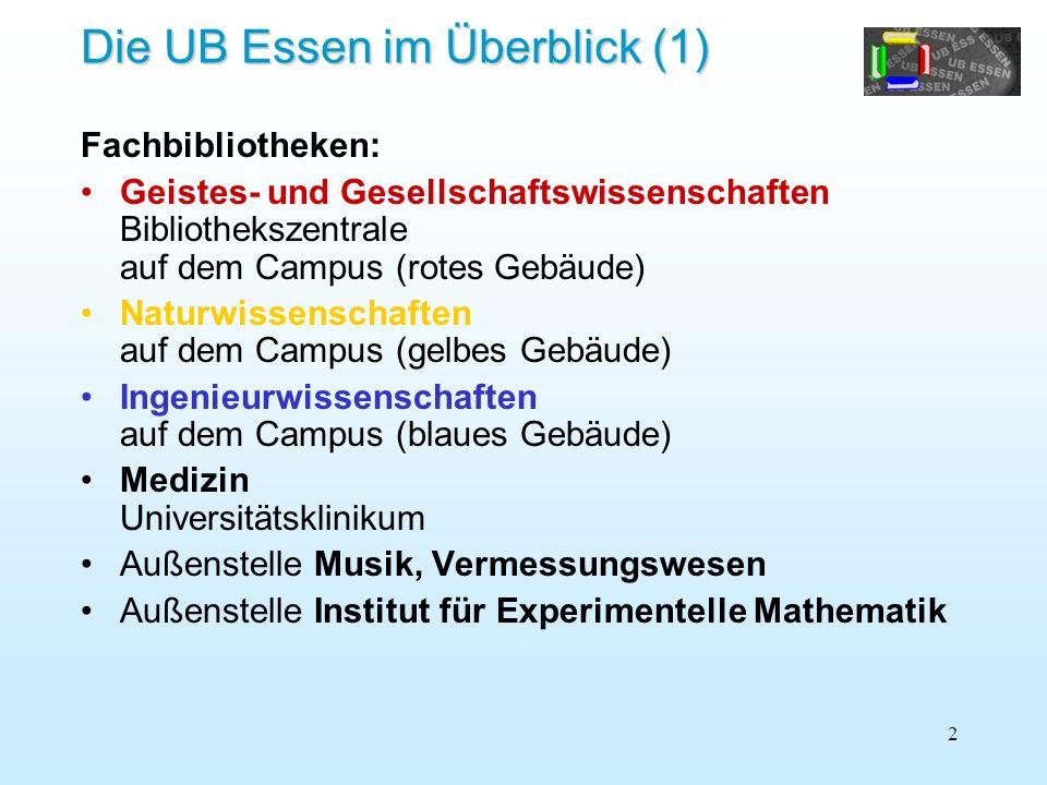 2 Die UB Essen im Überblick (1) Fachbibliotheken: Geistes- und Gesellschaftswissenschaften Bibliothekszentrale auf dem Campus (rotes Gebäude) Naturwis