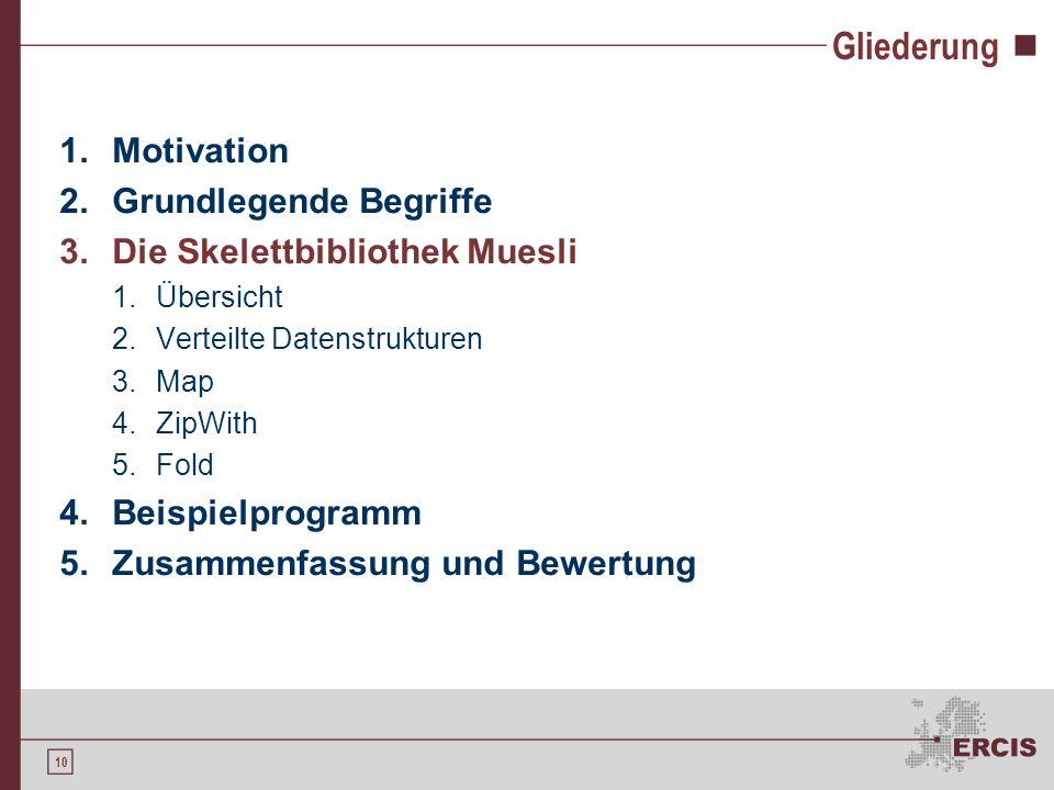 10 Gliederung 1.Motivation 2.Grundlegende Begriffe 3.Die Skelettbibliothek Muesli 1.Übersicht 2.Verteilte Datenstrukturen 3.Map 4.ZipWith 5.Fold 4.Bei