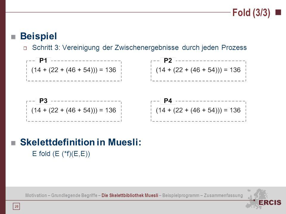 20 Fold (3/3) Beispiel Schritt 3: Vereinigung der Zwischenergebnisse durch jeden Prozess Skelettdefinition in Muesli: E fold (E (*f)(E,E)) Motivation