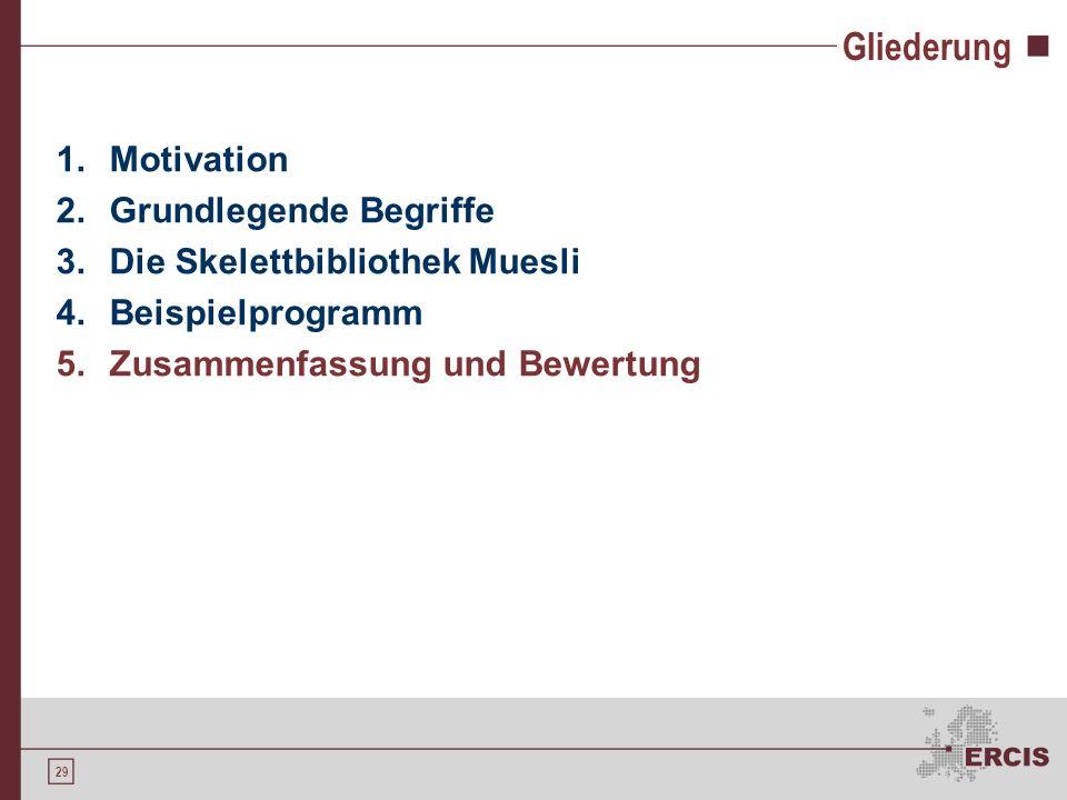 29 Gliederung 1.Motivation 2.Grundlegende Begriffe 3.Die Skelettbibliothek Muesli 4.Beispielprogramm 5.Zusammenfassung und Bewertung