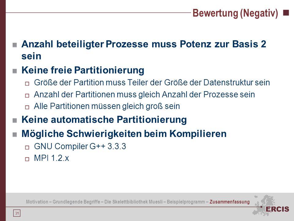 31 Bewertung (Negativ) Anzahl beteiligter Prozesse muss Potenz zur Basis 2 sein Keine freie Partitionierung Größe der Partition muss Teiler der Größe