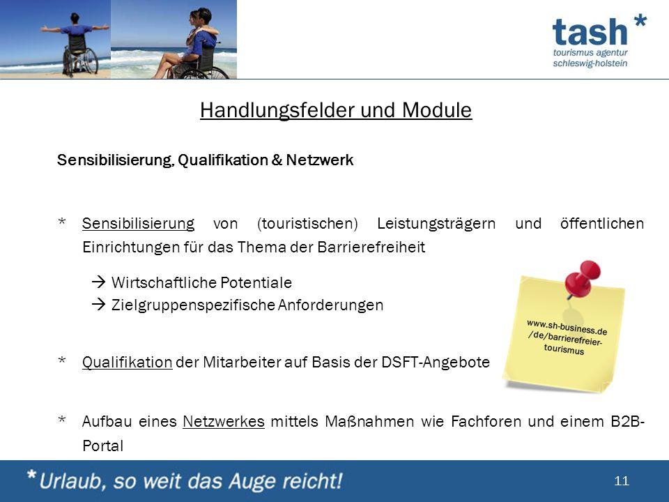 Handlungsfelder und Module Sensibilisierung, Qualifikation & Netzwerk *Sensibilisierung von (touristischen) Leistungsträgern und öffentlichen Einricht