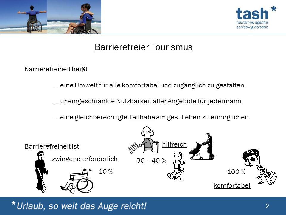 Barrierefreier Tourismus Barrierefreiheit heißt … eine Umwelt für alle komfortabel und zugänglich zu gestalten. … uneingeschränkte Nutzbarkeit aller A