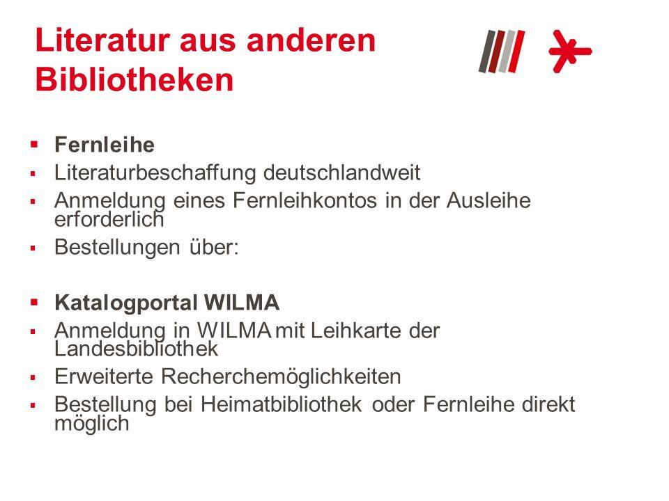 Literatur aus anderen Bibliotheken Fernleihe Literaturbeschaffung deutschlandweit Anmeldung eines Fernleihkontos in der Ausleihe erforderlich Bestellu