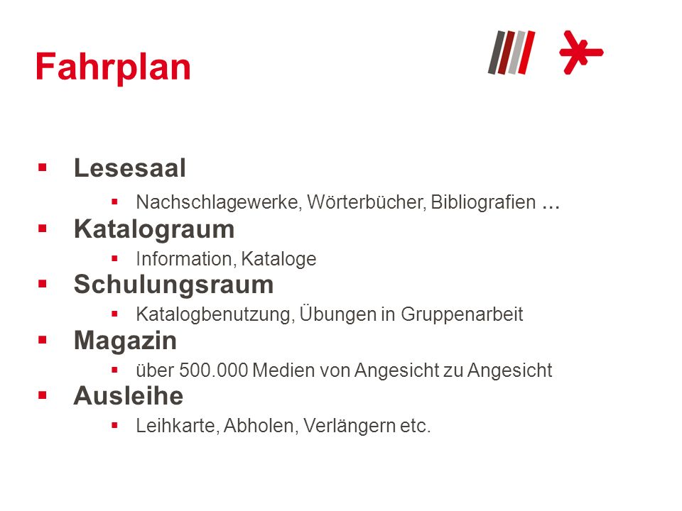 Fahrplan Lesesaal Nachschlagewerke, Wörterbücher, Bibliografien... Katalograum Information, Kataloge Schulungsraum Katalogbenutzung, Übungen in Gruppe