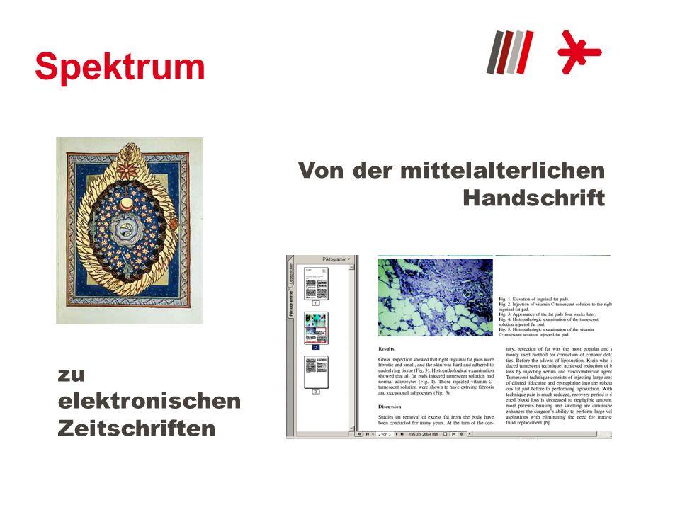 Bestand Über 820.000 Medieneinheiten: Bücher DVDs, CDs, Hörbücher, VHS-Videos Zeitschriften + Zeitungen E-Journals, E-Papers, E-Books Mittelalterliche Handschriften
