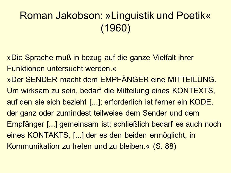 Roman Jakobson: »Linguistik und Poetik« (1960) »Die Sprache muß in bezug auf die ganze Vielfalt ihrer Funktionen untersucht werden.« »Der SENDER macht