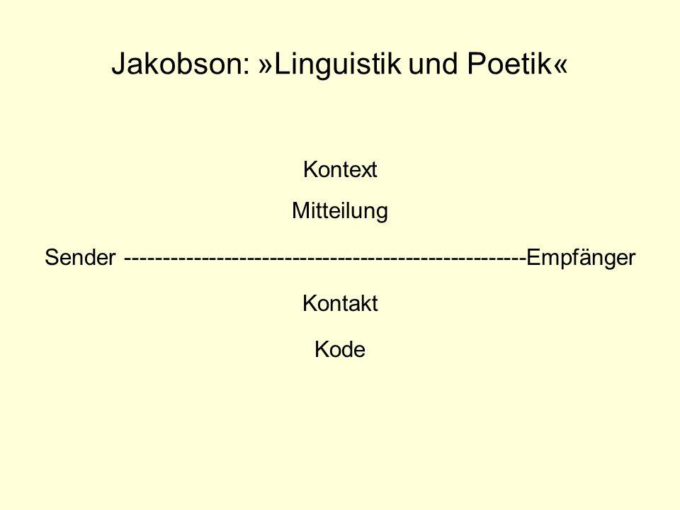Jakobson: »Linguistik und Poetik« Kontext Mitteilung Sender -----------------------------------------------------Empfänger Kontakt Kode