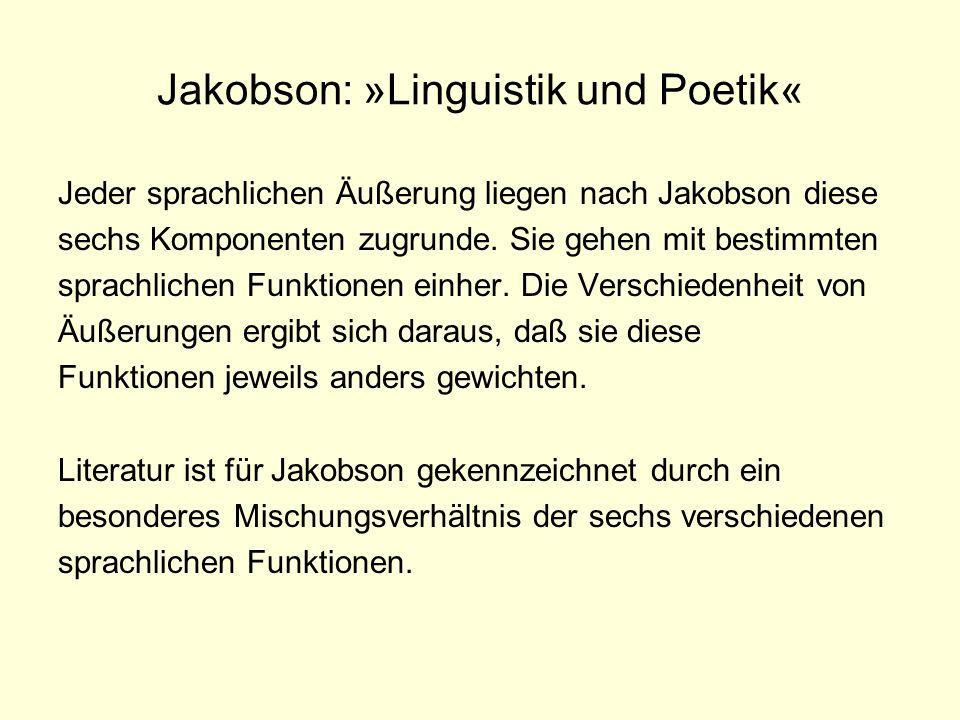 Jakobson: »Linguistik und Poetik« Jeder sprachlichen Äußerung liegen nach Jakobson diese sechs Komponenten zugrunde. Sie gehen mit bestimmten sprachli