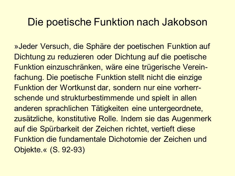 Die poetische Funktion nach Jakobson »Jeder Versuch, die Sphäre der poetischen Funktion auf Dichtung zu reduzieren oder Dichtung auf die poetische Fun