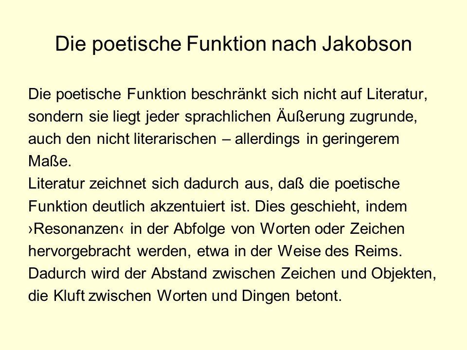 Die poetische Funktion nach Jakobson Die poetische Funktion beschränkt sich nicht auf Literatur, sondern sie liegt jeder sprachlichen Äußerung zugrund