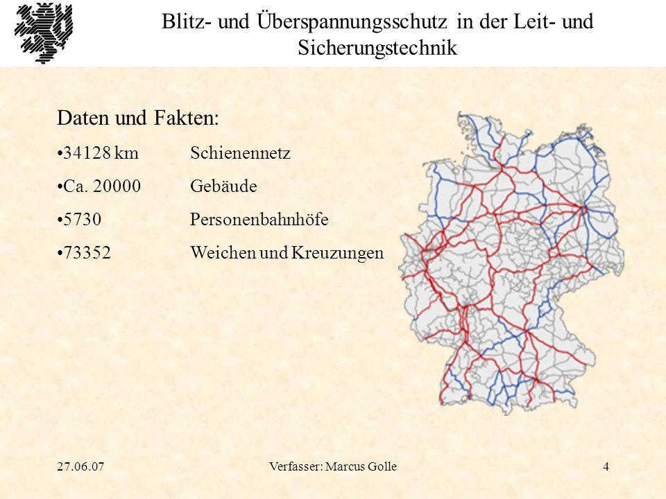 27.06.07Verfasser: Marcus Golle25 Blitz- und Überspannungsschutz in der Leit- und Sicherungstechnik Berechnungsbeispiel E = 1 - l = Länge (ca.18m) b = Breite (ca.
