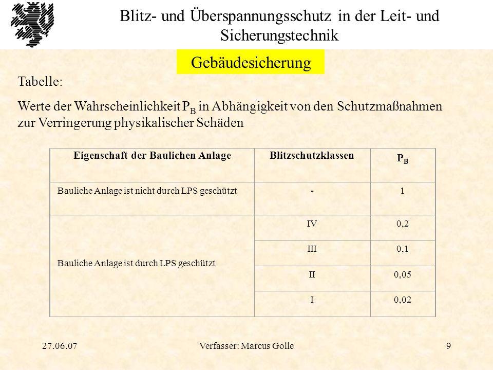 27.06.07Verfasser: Marcus Golle10 Blitz- und Überspannungsschutz in der Leit- und Sicherungstechnik Gebäudesicherung Äußerer Blitzschutz Soll verhindern, dass größere Blitzströme in das Gebäudeinnere und in die Daten- u.