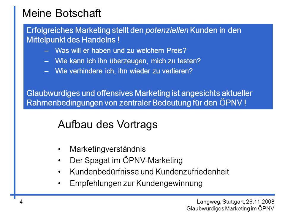 Langweg, Stuttgart, 26.11.2008 Glaubwürdiges Marketing im ÖPNV 25 Methode 3: Aktives Beschwerdemanagement Mängel im ÖPNV wird es immer geben Wie viele haben Sie schon erlebt.