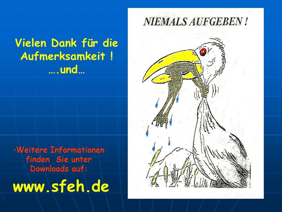 Vielen Dank für die Aufmerksamkeit ! ….und… Weitere Informationen finden Sie unter Downloads auf: www.sfeh.de