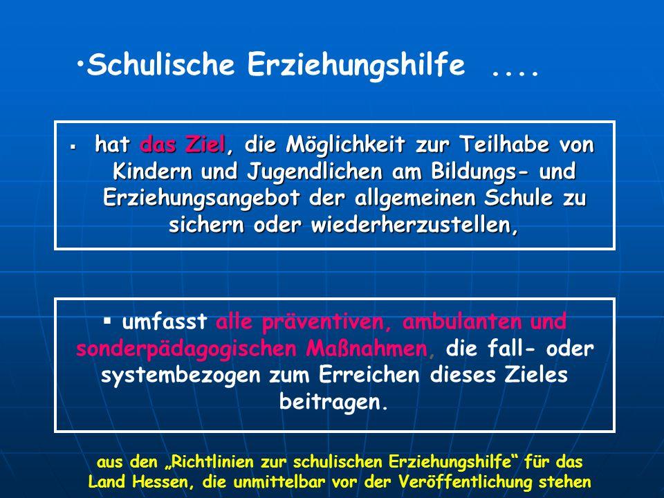 Schulische Erziehungshilfe.... hat das Ziel, die Möglichkeit zur Teilhabe von Kindern und Jugendlichen am Bildungs- und Erziehungsangebot der allgemei