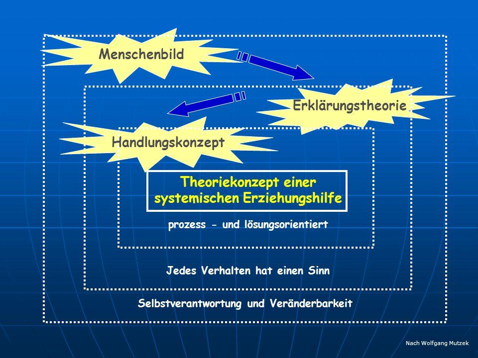 Theoriekonzept einer systemischen Erziehungshilfe Menschenbild Selbstverantwortung und Veränderbarkeit Erklärungstheorie Jedes Verhalten hat einen Sin