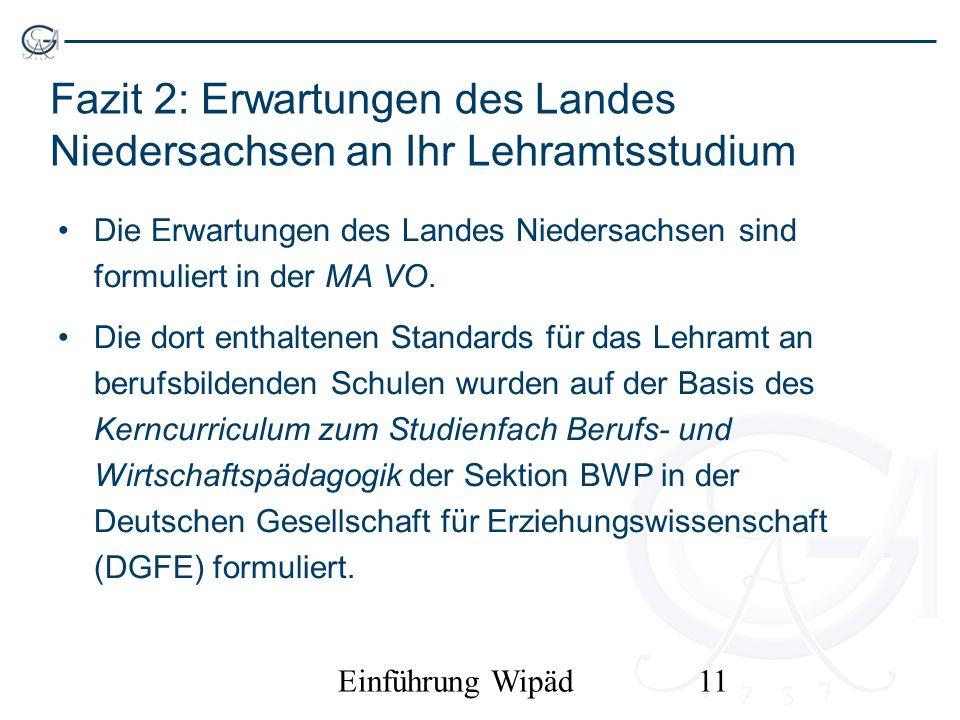 Einführung Wipäd11 Fazit 2: Erwartungen des Landes Niedersachsen an Ihr Lehramtsstudium Die Erwartungen des Landes Niedersachsen sind formuliert in de