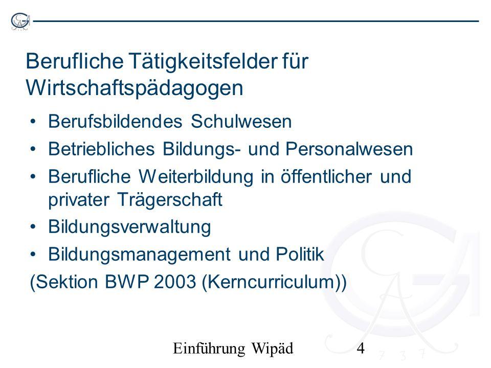 Einführung Wipäd4 Berufliche Tätigkeitsfelder für Wirtschaftspädagogen Berufsbildendes Schulwesen Betriebliches Bildungs- und Personalwesen Berufliche