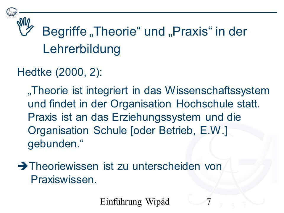 Einführung Wipäd8 Problem des Theorie-Praxis-Verhältnisses in der Lehrerbildung Überforderung der Ansprüche an wissenschaftliche Theorie wegen der Komplexität sozialer Praxis (Rebmann, Tenfelde & Uhe 2005): –Aussagen sozialwissenschaftlicher Theorien sind statistische Aussagen; sie müssen in der konkreten Praxis daher nicht immer zutreffen.